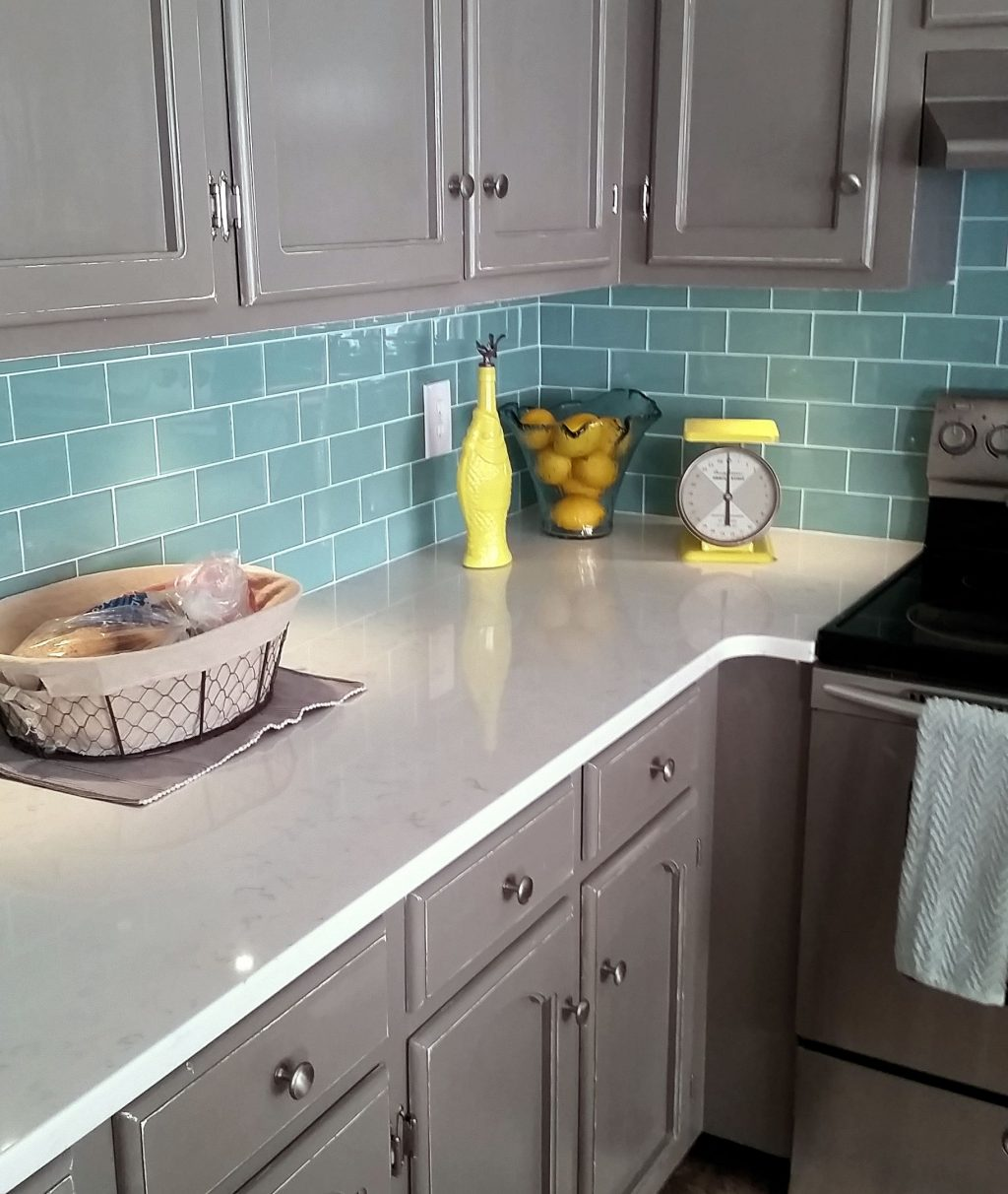 Sage Green Glass Subway Tile In 2019 Kitchen Glass Backsplash
