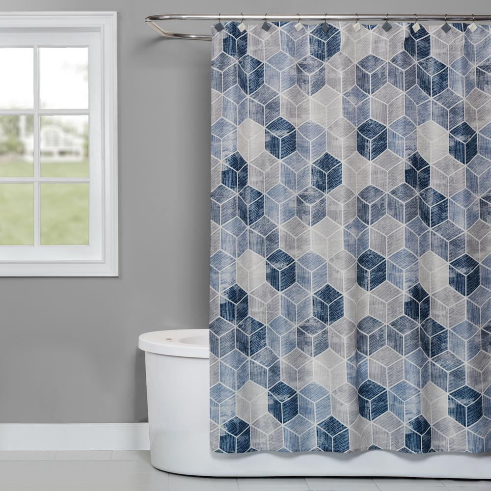 Saturday Knight Cubes 72 In Shower Curtain In Blue T4275600200001