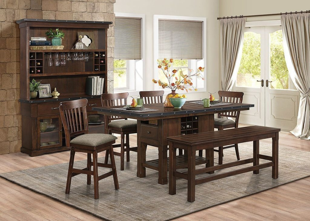 Schleiger Counter Height Dining Room Set W Swivel Chairs And Bench
