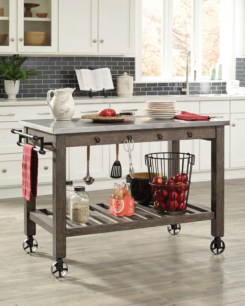 Scott Living 100527 Rustic Kitchen Island Cart Metal Top On Casters