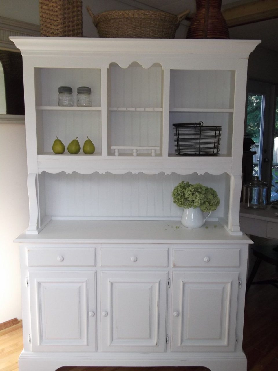 Shab Cottage French Country Farmhouse White Hutch Buffet China