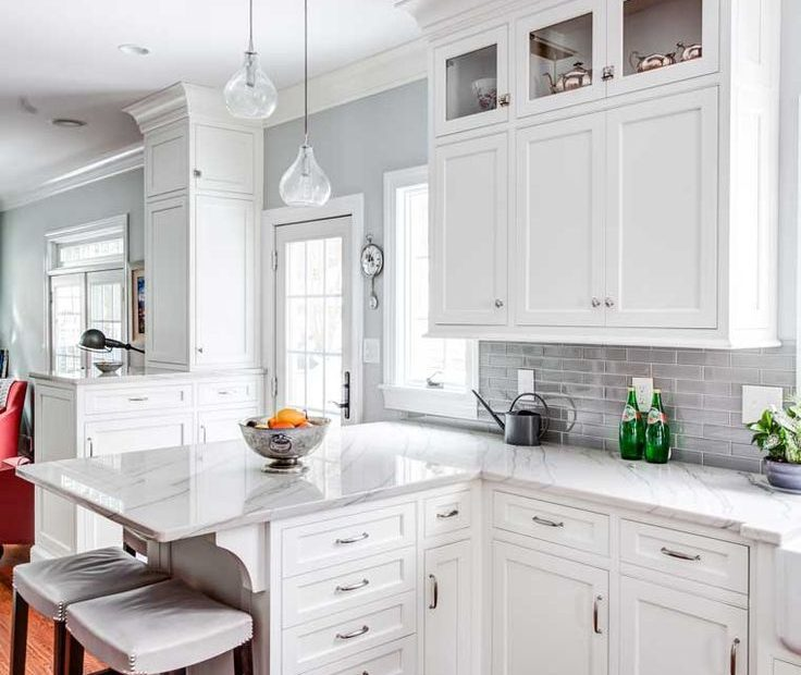 Shaker Style With Thin Borders And Trimmed To Ceiling Kitchen