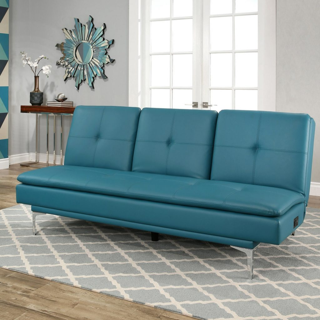 Shop Abson Kil Turquoise Bonded Leather Sofa Bed With Console