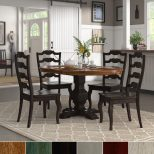 Shop Eleanor Black Extending Oval Wood Table French Back 5 Piece