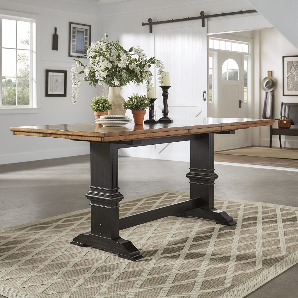 Shop Eleanor Solid Wood Counter Height Trestle Base Dining Table