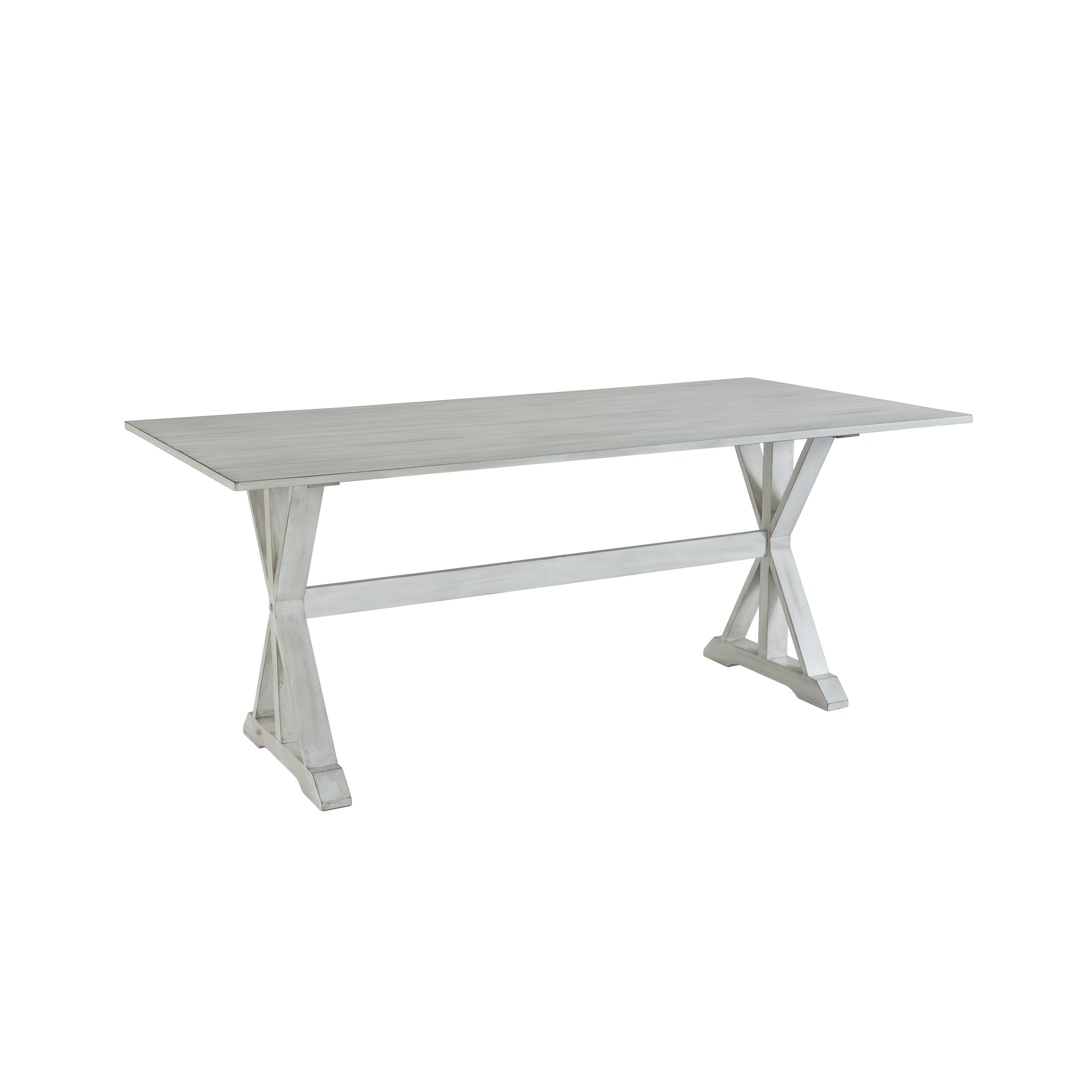 Shop Farmhouse Distressed White Trestle Dining Table Free Shipping