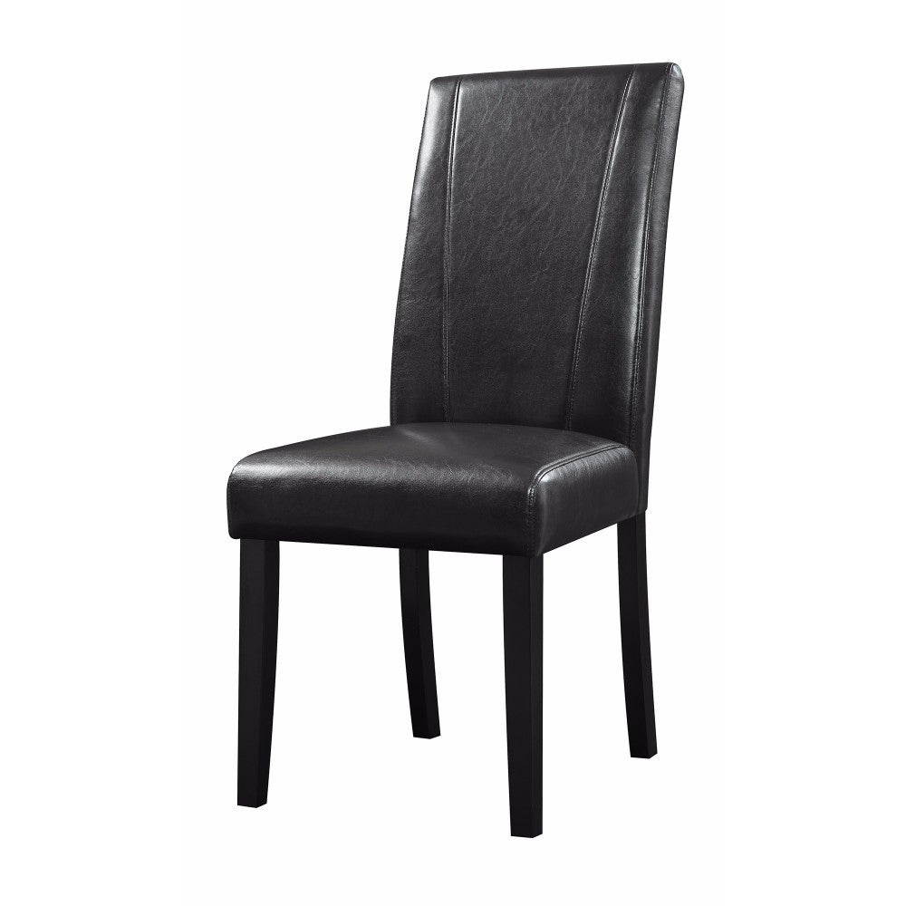 Shop Leather High Back Contemporary Dining Chair Black Set Of 2