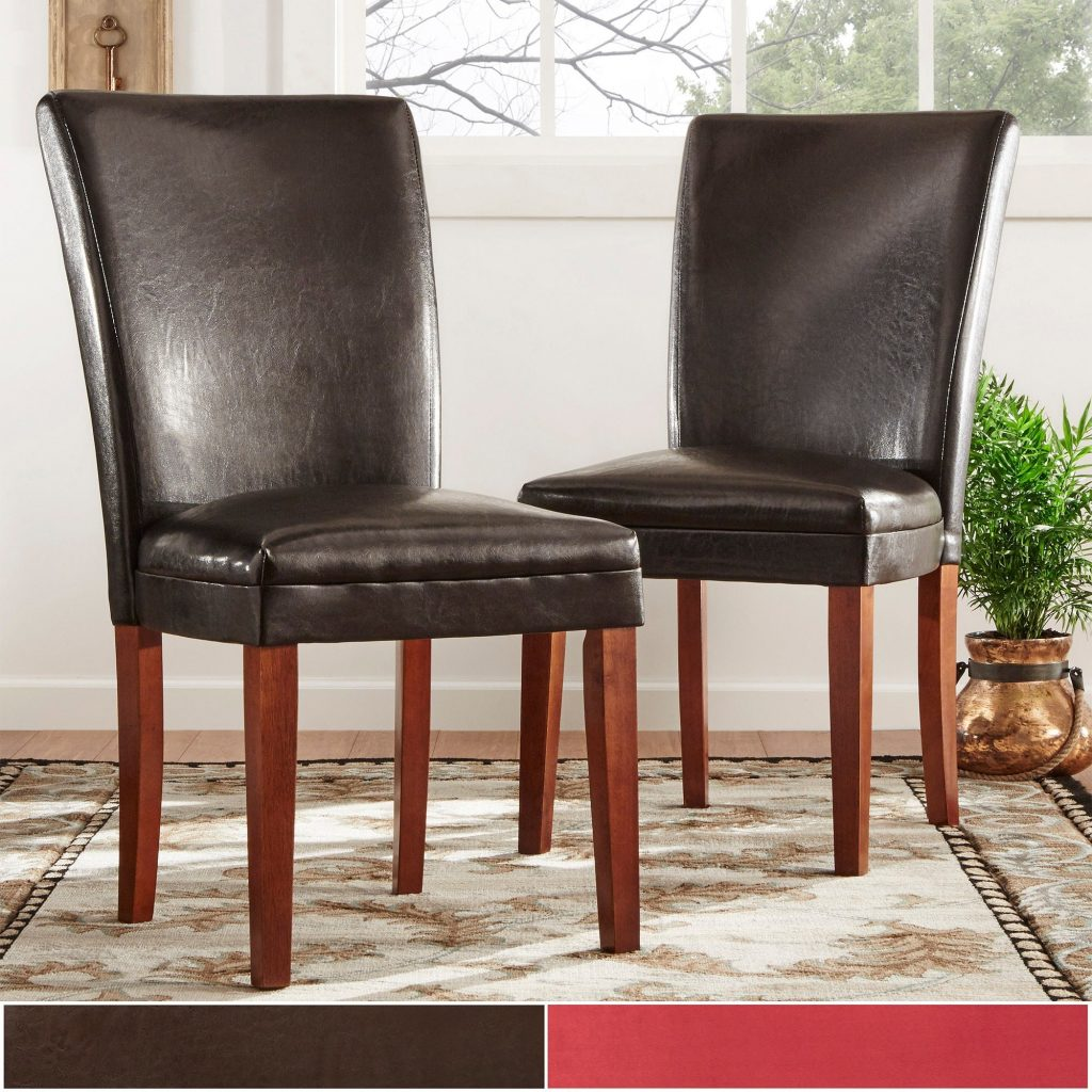 Shop Parson Faux Leather Dining Chairs Set Of 2 Inspire Q Bold