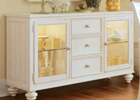 Oak Sideboard Buffet Table Glass