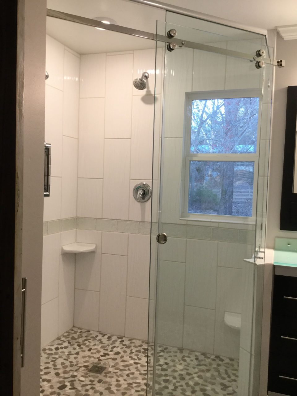 Small 9x7 Bathroom Remodel Created A Diagonal Huge Shower For Two