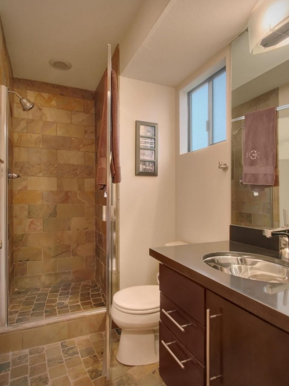 Small Bathroom Features Earth Tone Tile Small Bathroom Remodel In