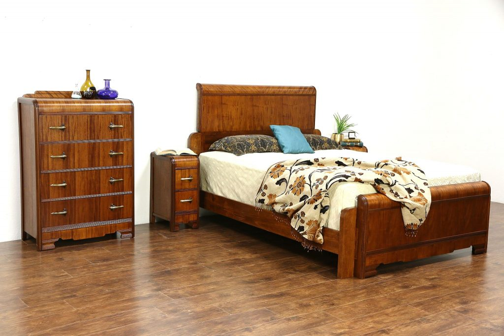 Sold Art Deco Waterfall 1930s Vintage 4 Pc Bedroom Set Queen