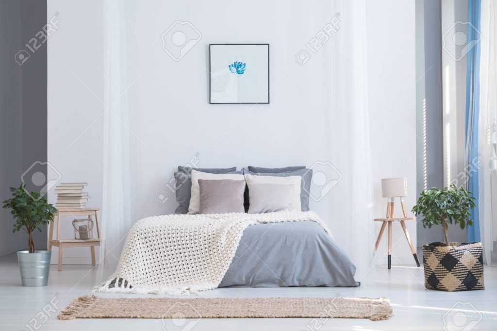 Soothing Gray And Blue Color Palette For Balanced Bedroom In Stock