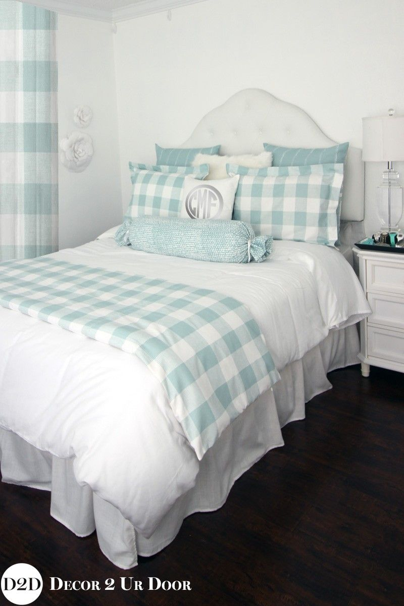 Spa Blue Farmhouse Gingham Buffalo Check Custom Designer Bedding