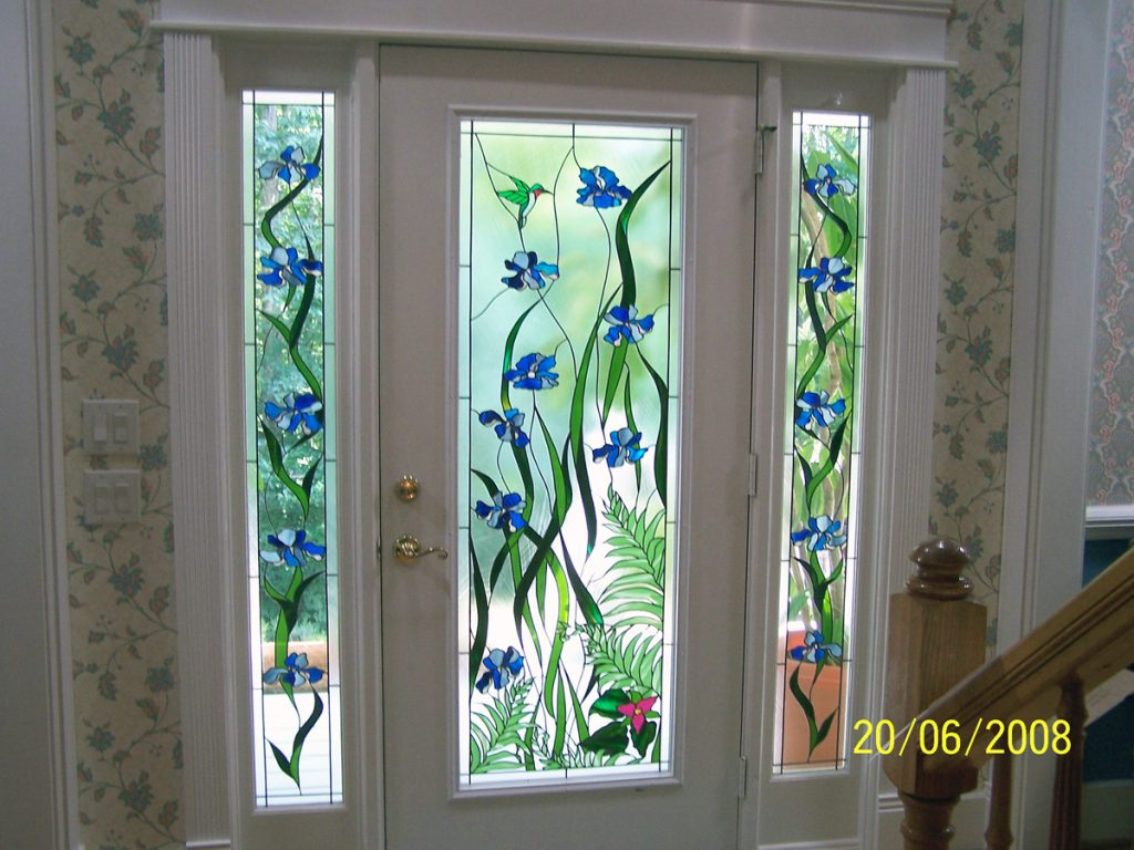 Stained Glass Bathroom Window In Concert With Cozy House Design