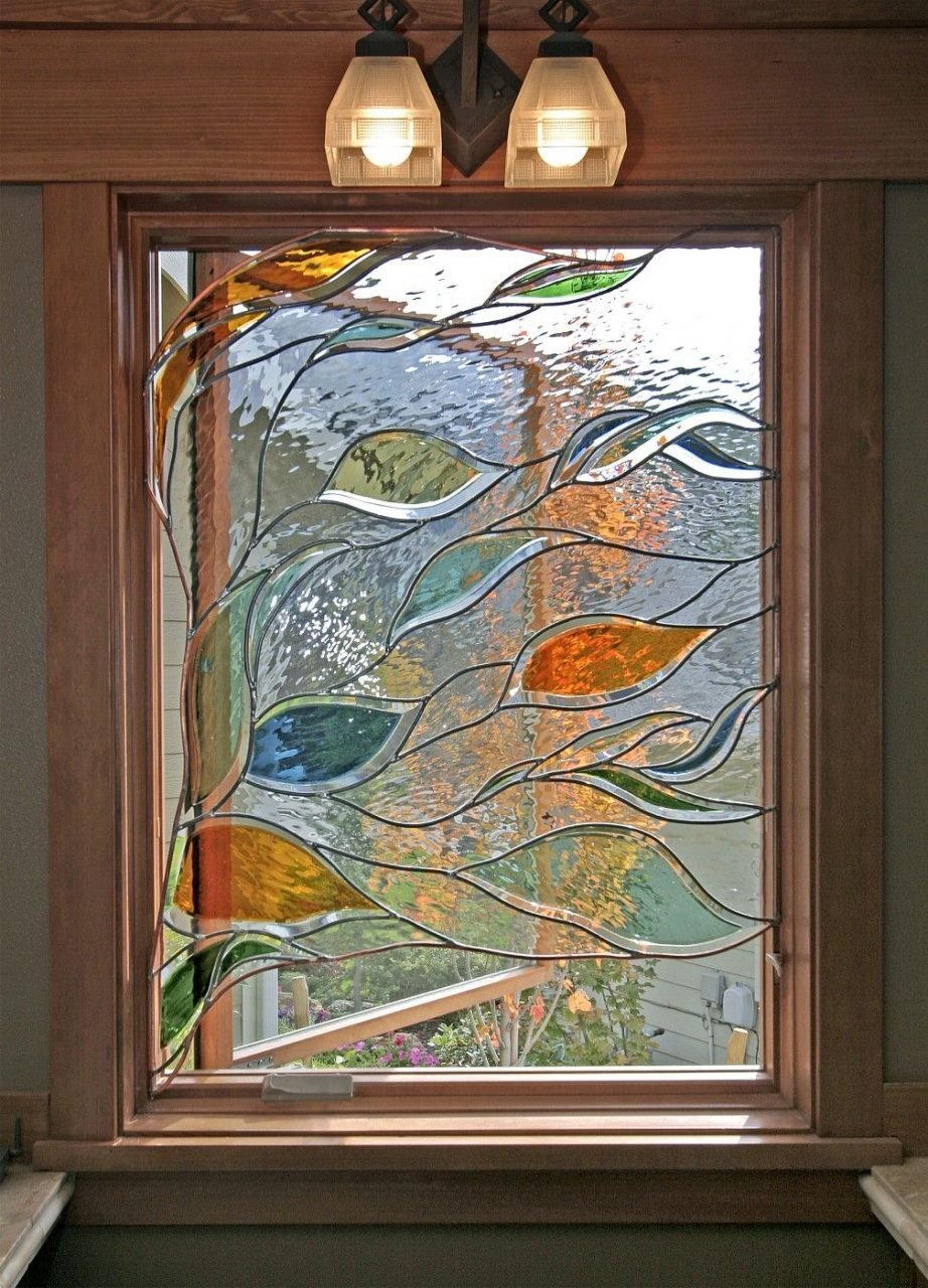 Stained Glass Window In Bathroom Depicting Blowing Branches And