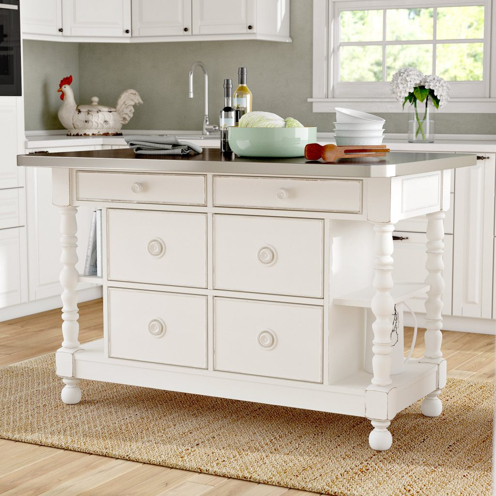 Tennille Kitchen Island With Stainless Steel Top Reviews Birch Lane