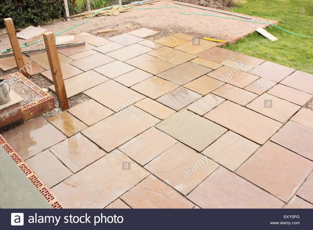 The Construction And Building Of A Natural Stone Patio Stock Photo