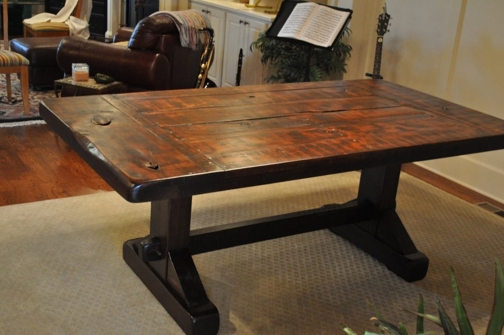 The Emerson Rustic Trestle Dining Table Atlanta Georgia Rustic