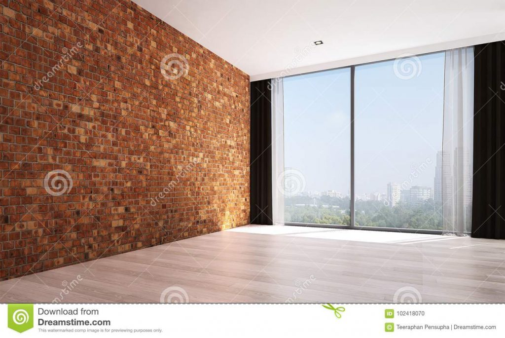 The Empty Living Room Interior Design And Red Brick Wall Pattern