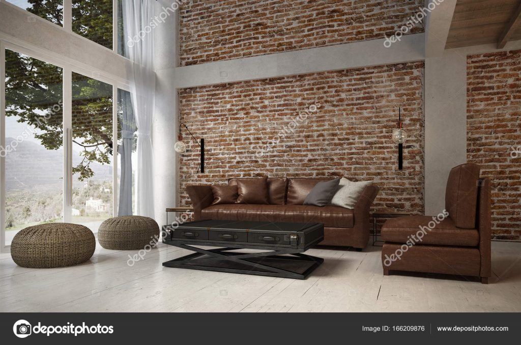 The Interior Design Of Lounge And Living Room And Leather Sofa Set