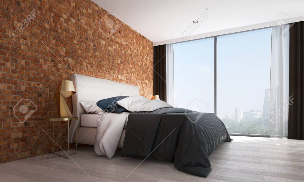 The Modern Bedroom Interior Design And Red Brick Wall Texture