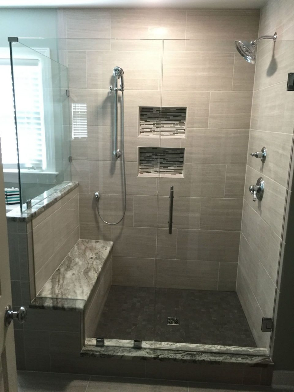 This Frameless Corner Shower Door Enclosure Features A Double