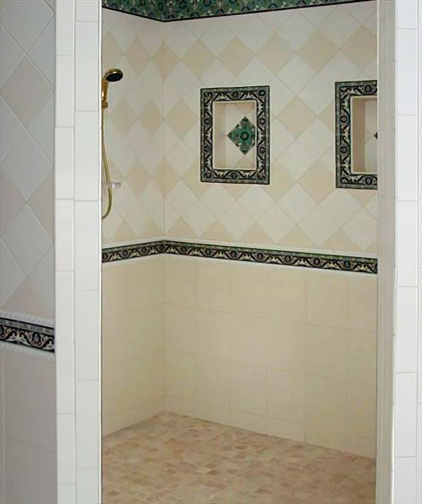 Tiled Shower Designs Shower Niche Corner Shelf Glass Tile Around Shower