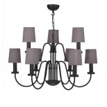 Traditional 9 Light Black Chandelier With Charcoal Silk Shades