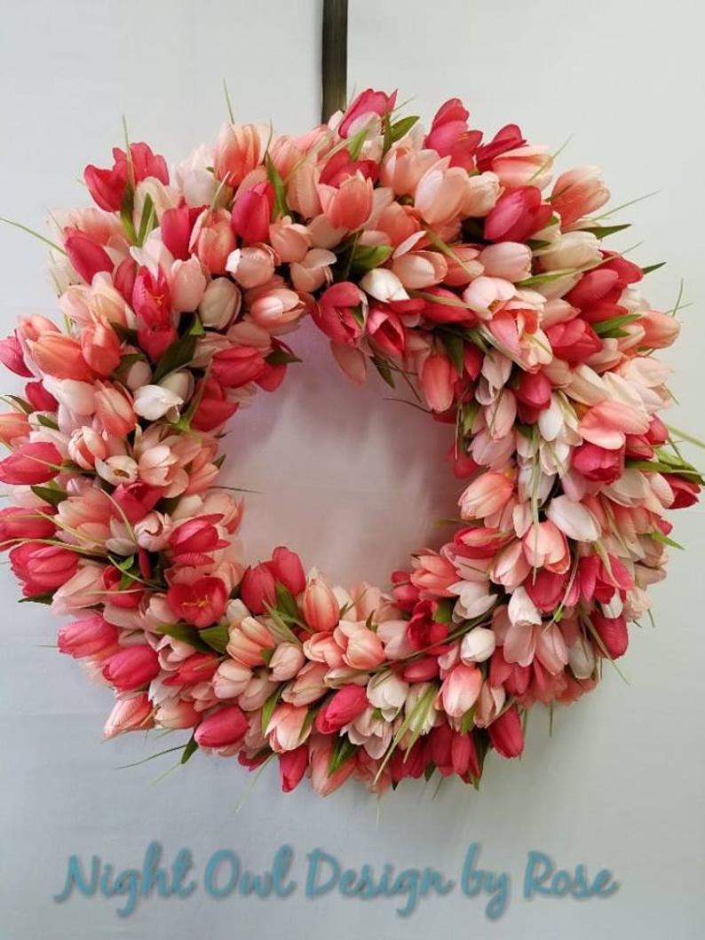 Tulip Wreath For Your Front Door Spring Decor Salmon Tulips Etsy