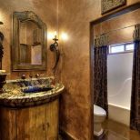 Tuscan Bathroom Design With Faux Wall Paint Bathroom Inviting