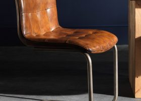 Leather Dining Chair with Metal Frame