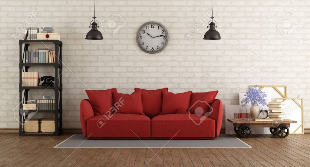 Vintage Living Room With Red Sofa And Retro Furniture 3d Rendering