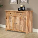 Waldo Rustic Mango Wood 2 Drawer Small Sideboard Cabinet