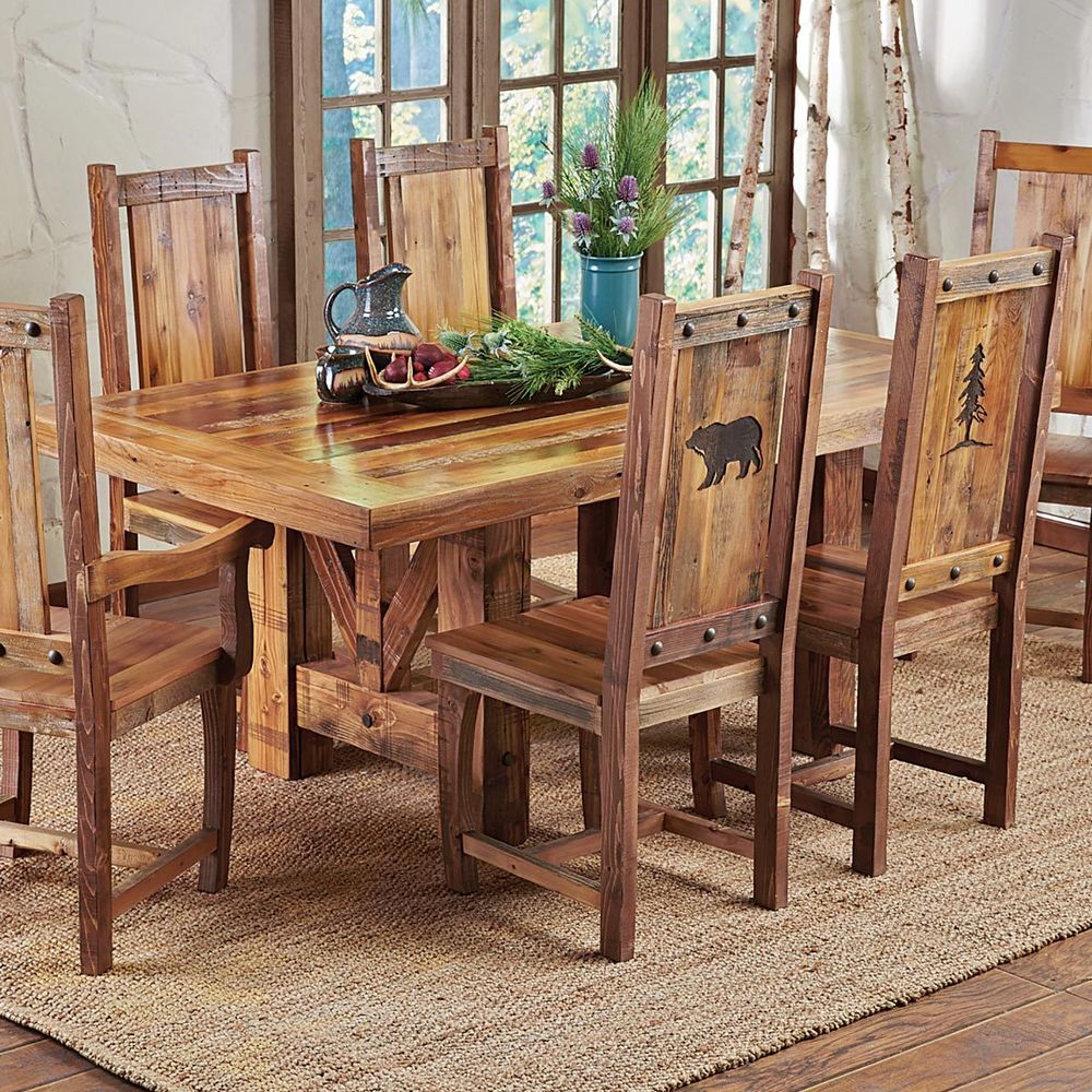 Western Trestle Table Chairs Country Rustic Wood Log Kitchen