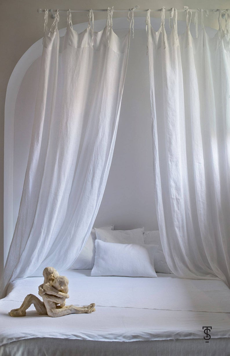 White Bed Canopy Linen Bed Canopy Canopy Bed Curtains Bed Etsy