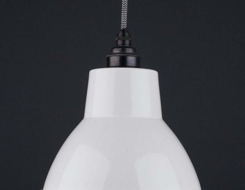 White Enamal Pendant Ceiling Light Moccas Industrial Vintage Retro
