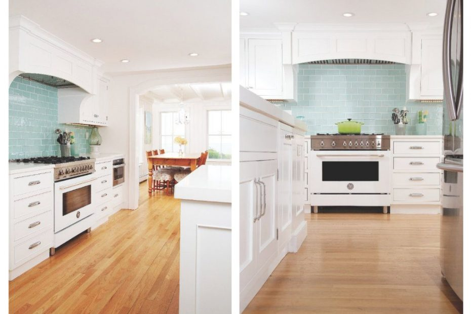 White Kitchen With Aqua Backsplash Tiles And Upgraded Stove La