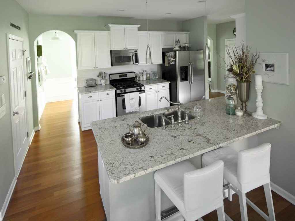 White Kitchen With Mint Green Walls And Granite Countertops Hgtv
