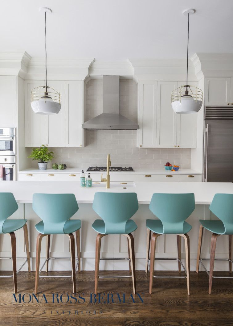 White Kitchen With Statement Teal Bar Stools Mona Ross Berman