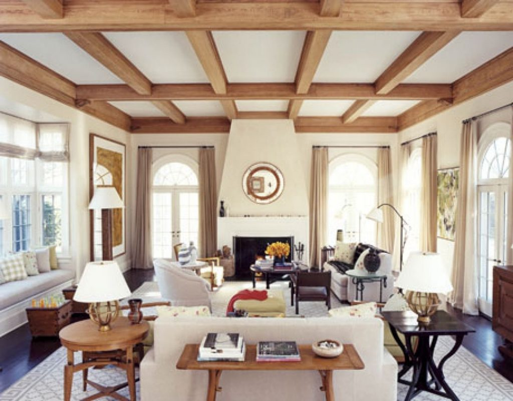 White Living Room With Wood Ceiling Beams Living Rooms Ceiling