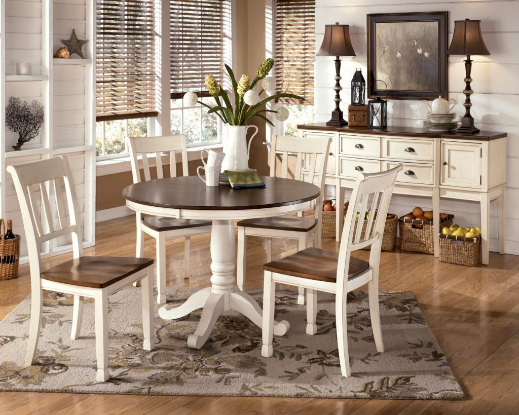 Whitesburg 5 Piece Round Dining Table Set In Brown White Dining