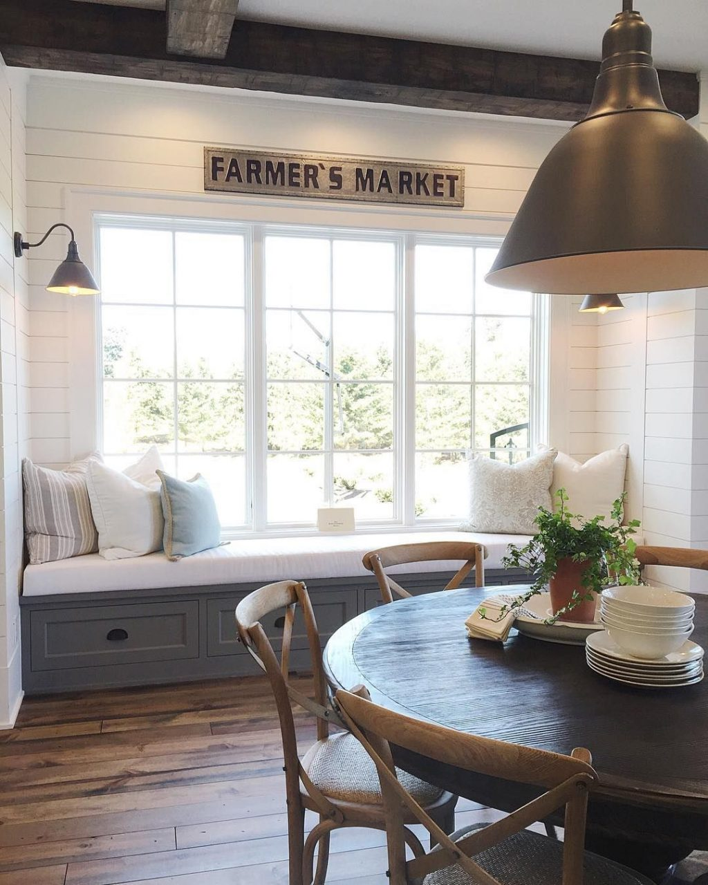 Window Seat And Breakfast Table Kitchen Home Decor Farmhouse