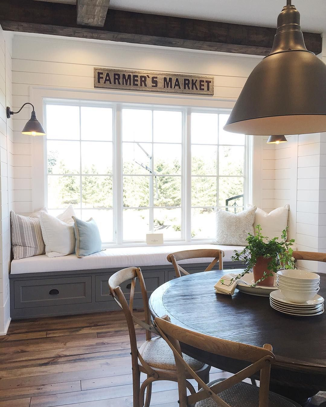 Picture of: Window Seat And Breakfast Table Kitchen Home Decor Farmhouse Layjao