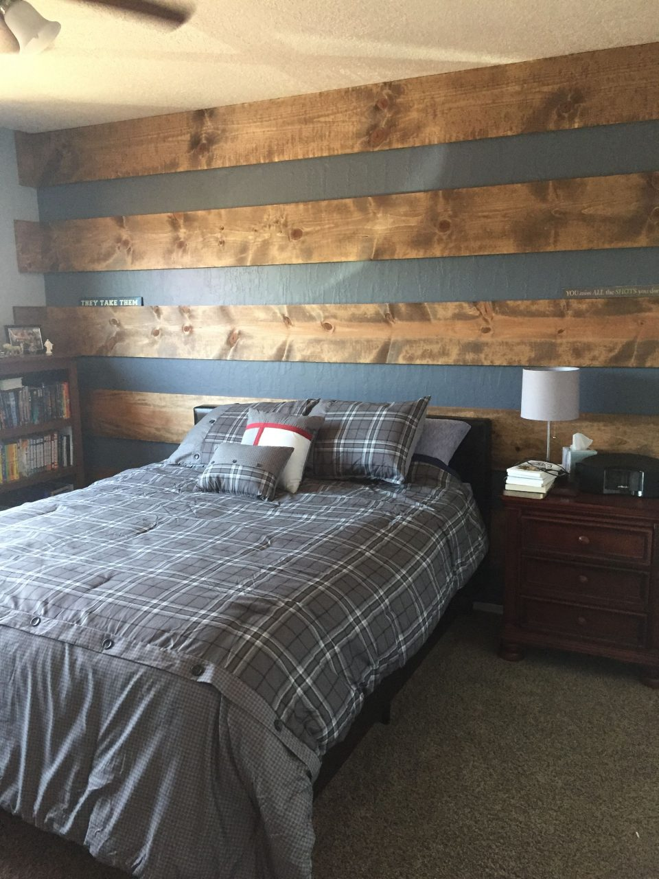 Wood Plank Accent Wall To Update Teenage Sons Room Tween Boys