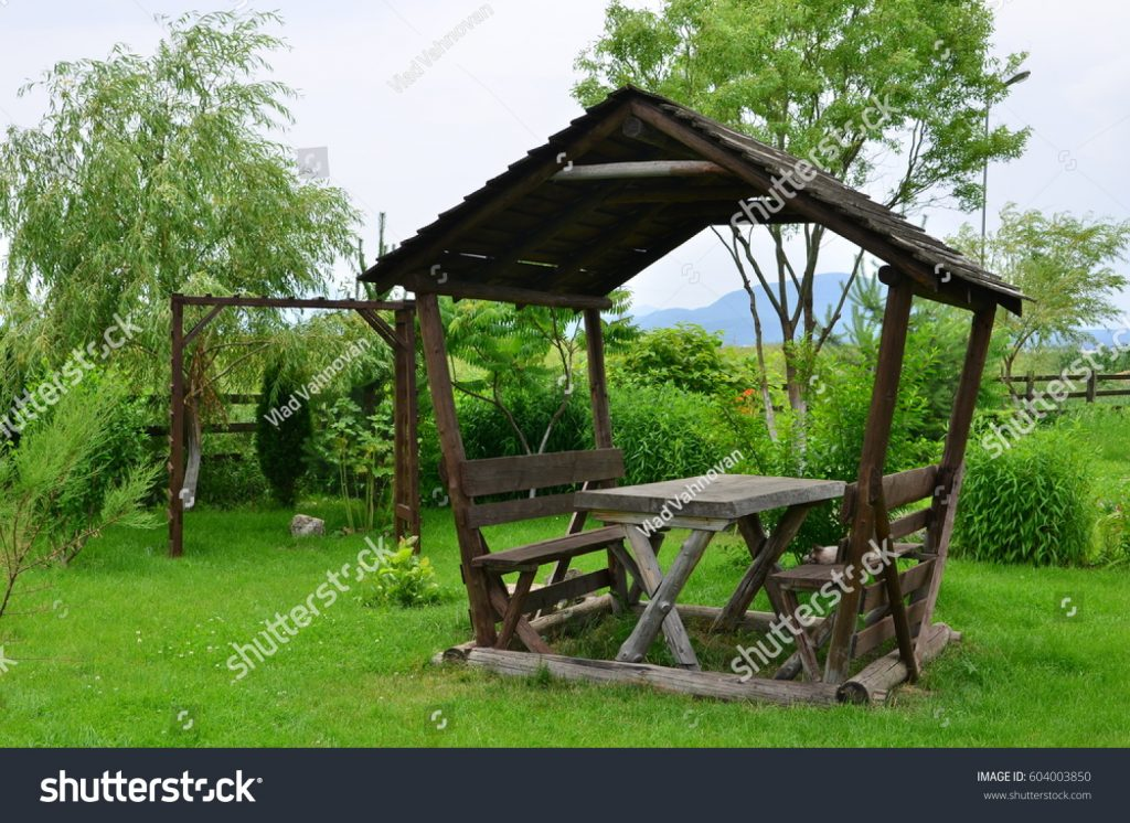 Wooden Rustic Gazebo Placed Summer Courtyard Stock Photo Edit Now