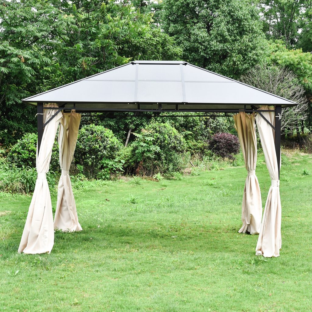 12x10 Patio Outdoor Gazebo With Hardtop Curtains Canopy Backyard