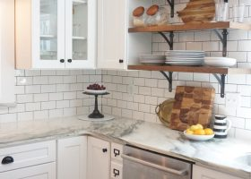 White Shaker Cabinets with Subway Tile Backsplash
