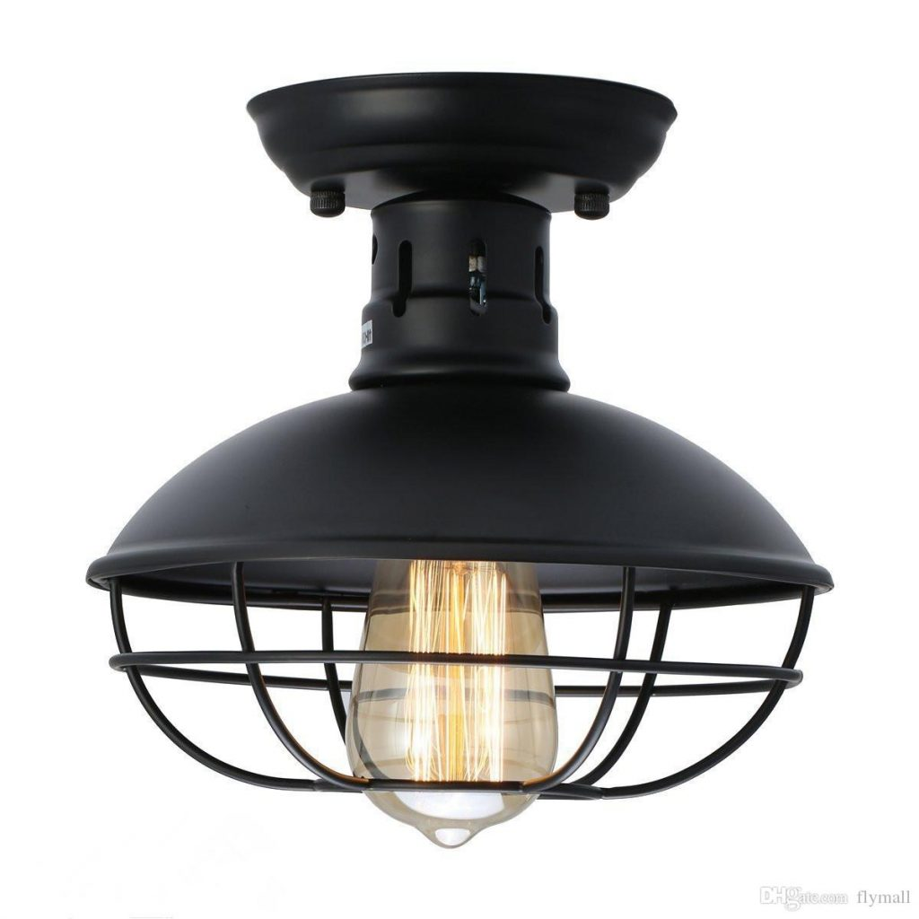 2019 Industrial Metal Cage Ceiling Light Rustic Mini Semi Flush