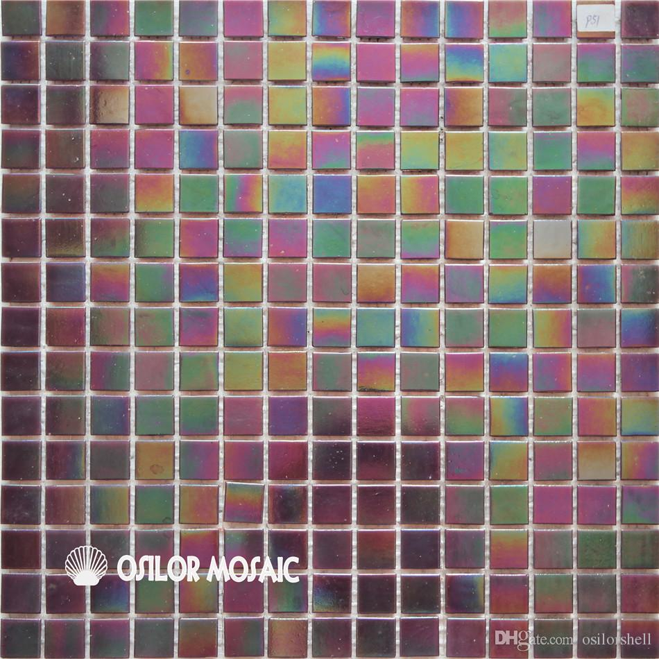 2019 Iridescent Color Glass Mosaic Tile For Bathroom And Kitchen
